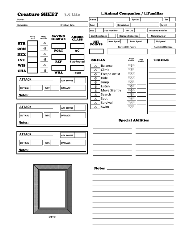 picture relating to Pathfinder Printable Character Sheet referred to as Animal Associate / Common Persona Sheets Fillable