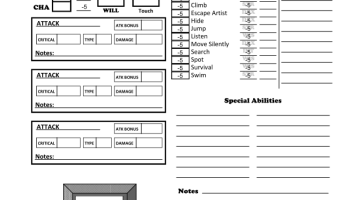 Animal Companion / Familiar Character Sheets – For Pathfinder