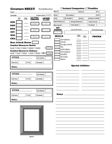 Animal Companion / Familiar Character Sheets - For Pathfinder