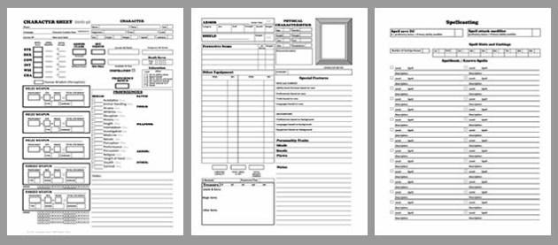 Spell Cards D&d 5e D&d 5e – Character Sheet
